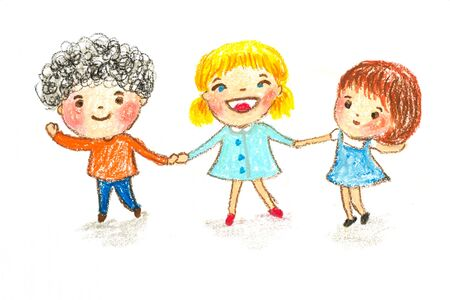 kids holding hands, oil pastel painting illustration