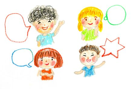 kids talking and bubbles, oil pastel drawing illustration