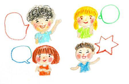 kinderen praten en bubbels, olie pastel tekening illustratie Stockfoto