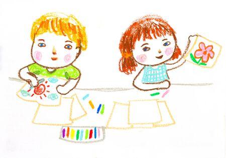 子供デッサン イラスト図面、オイル パステルに幸せ 写真素材
