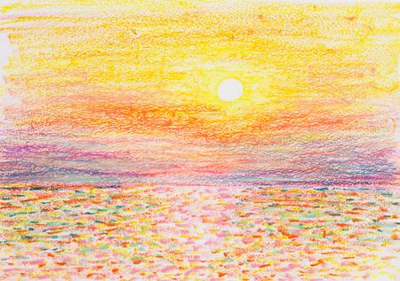 美しいサンセットの海オイル パステル画 写真素材