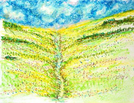 花フィールド風景、オイル パステル画図