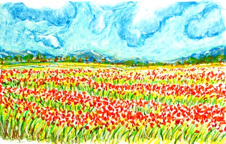 flowers field landscape,oil pastel painting illustration