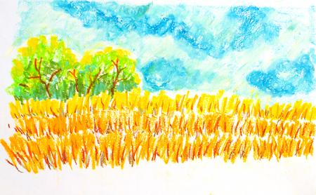 veld landschap, olie pastel schilderij illustratie Stockfoto