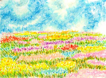 bloemen veld landschap, olie pastel schilderij illustratie