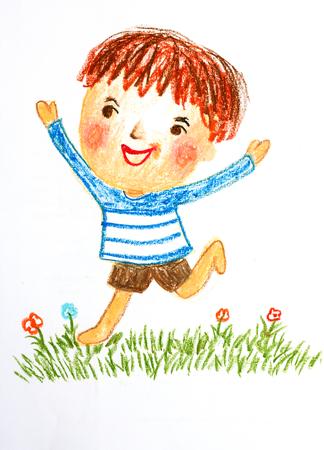 jongen runing in bloemen veld, olie pastel tekening illustratie