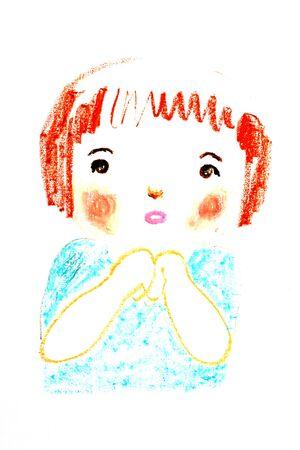 かわいい少女の肖像画、デッサン イラスト オイル パステル