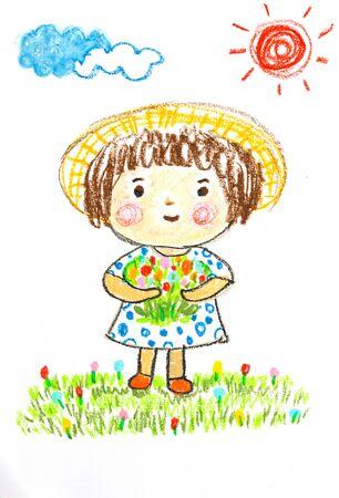 花畑、オイル パステル画イラストでかわいい女の子の幸せ