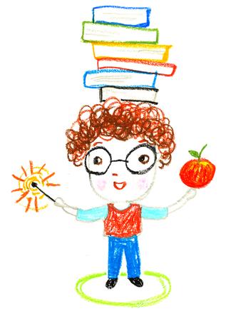 slimme jongen met boeken op zijn hoofd, olie pastel tekening illustratie Stockfoto