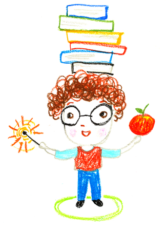 smart boy with books on his head , oil pastel drawing illustration