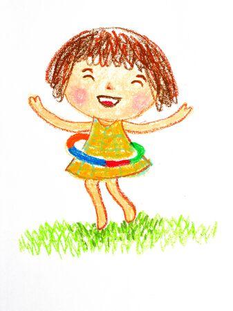 フラフープ、オイル パステル画用イラストを弾いている女の子 写真素材