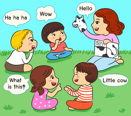 kids listening to storytell on the grass vector illustration Stock Illustratie