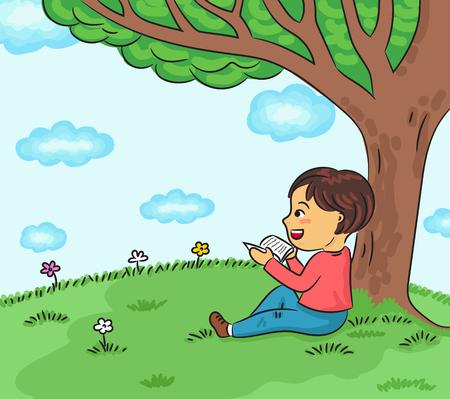 happy boy reading book under the tree vector illustration Illustration