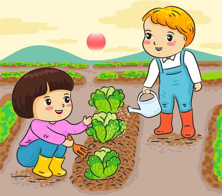 niños, jardinería, trabajando, en, granja, vector, ilustración