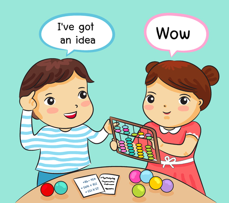 boy and girl learning math with abacus vector illustration