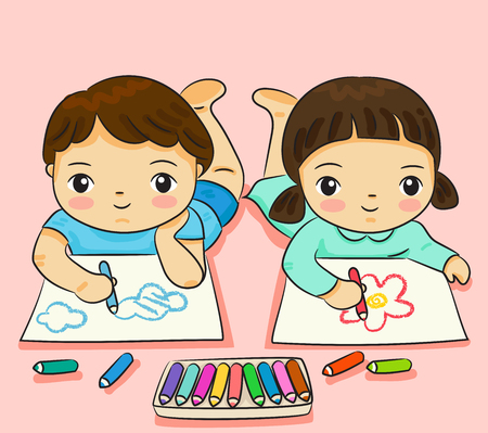 boy and girl drawing with colorful on paper vector illustration Ilustrace