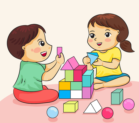 boy and girl happy to playing with building colorful block vector illustration  イラスト・ベクター素材