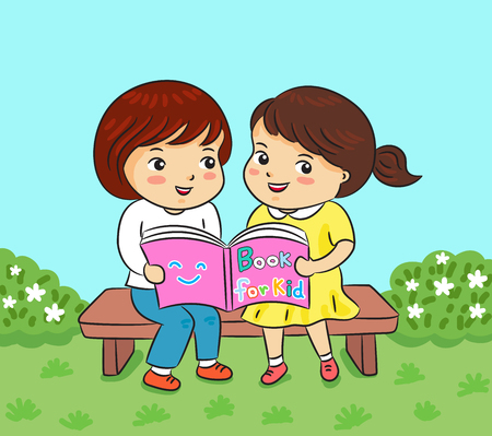 two girl reading book in park vector illustration