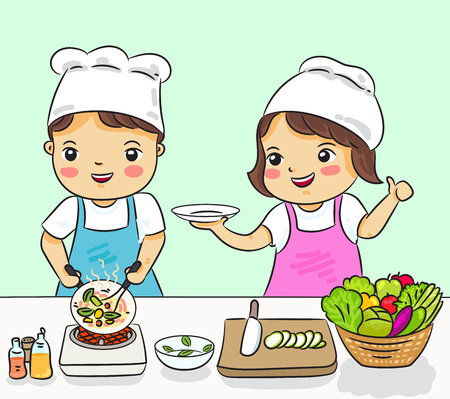 boy and girl cooking healthy food vector illustration 矢量图像
