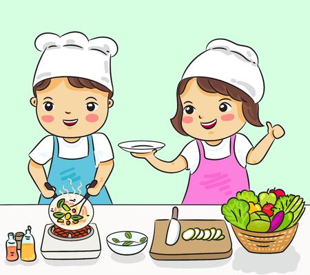 garçon et fille cuisiner des aliments sains vector illustration Vecteurs
