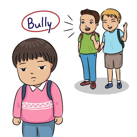 sad boy being bullying by school friends vector illustration concept