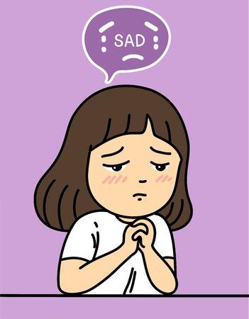 sad girl character vector illustration Illusztráció