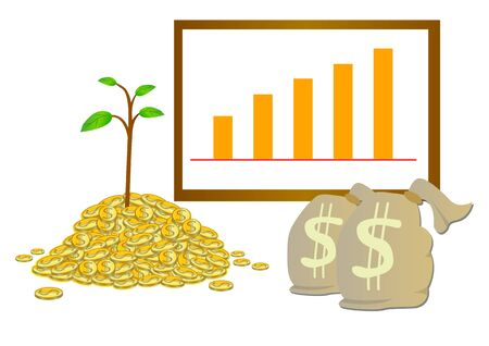 grow money: Make money grow vector with coin money bag and grow graph Illustration
