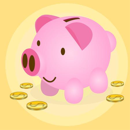coin box: Cute pig money box with coin
