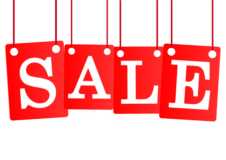 sale text hanging