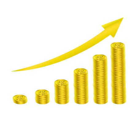 gold coin: gold coin growing graph Illustration