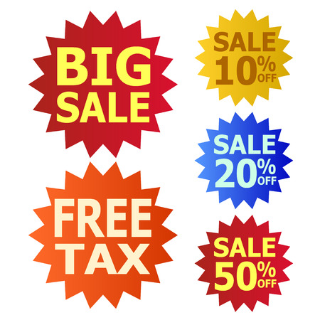 ten best: big sale and free tax icon Illustration