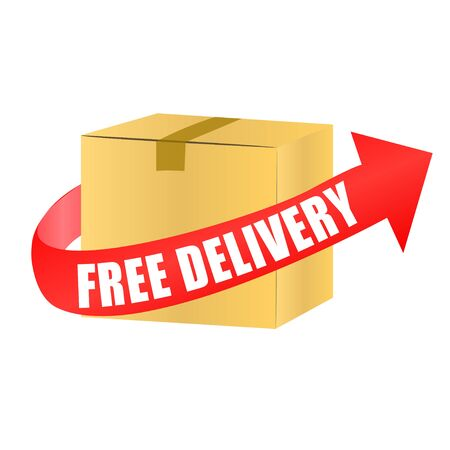 shipping boxes: free delivery box with arrow
