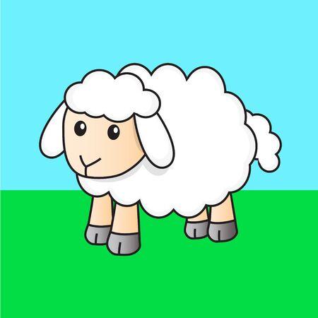 on white: sheep white cute cartoon