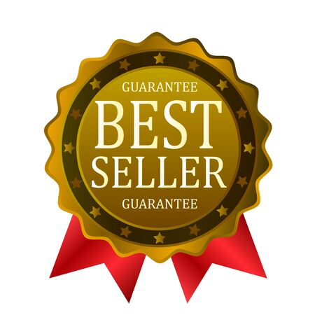 best seller guarantee badge red ribbon