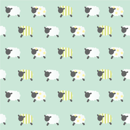 cartoon sheep: sheep vector green baclground