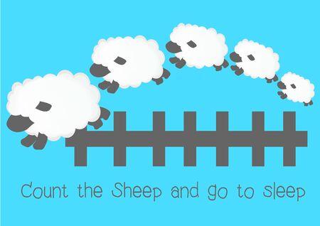 sleep: count sheep sleep cartoon Illustration