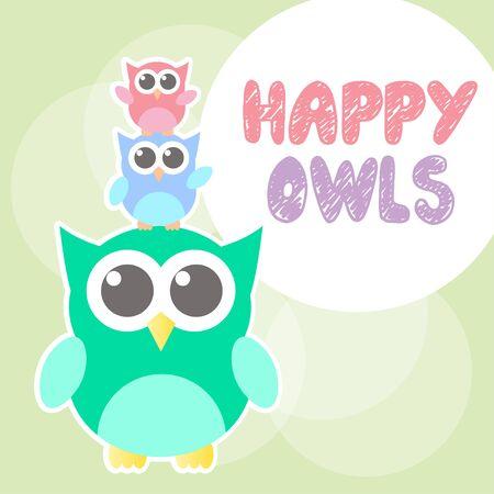owl illustration: owl happy three cute vector Illustration