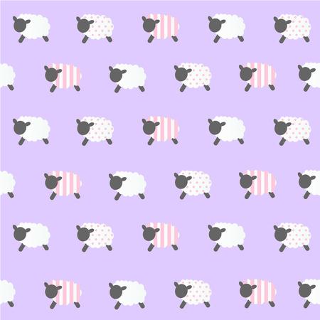 violet: sheep vector violet baclground Illustration