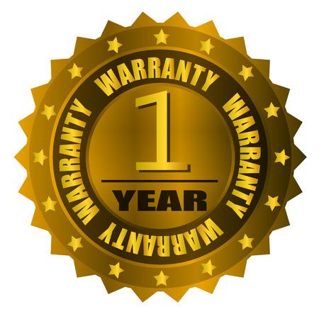 one year warranty: warranty one year gold badge Illustration