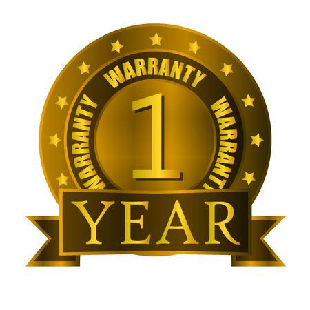 one year: warranty one year gold badge Illustration