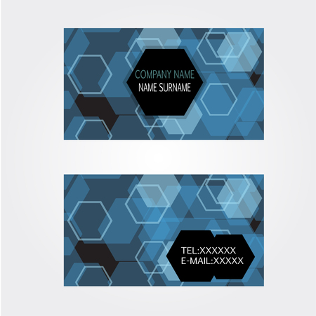 businesscard: Blue techonology Business-Card name card Set Modern Illustration