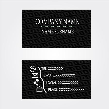 illustrators: Business-Card name card Set black zig zag Illustration