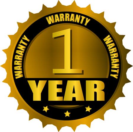 warranty one year gold badge Иллюстрация