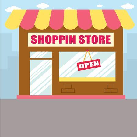 illustrators: shop store market building vector