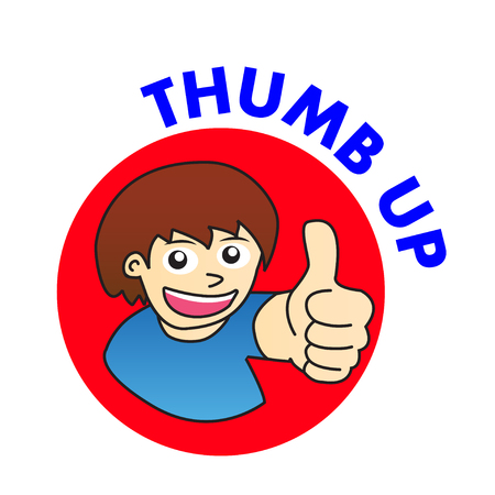 thumb up man cartoon vector Иллюстрация