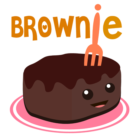 brownie: brownie cartoon cute sweet vector