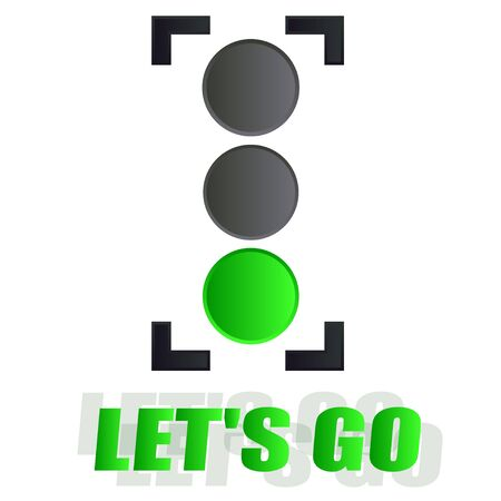 traffic light vector green lets go Иллюстрация
