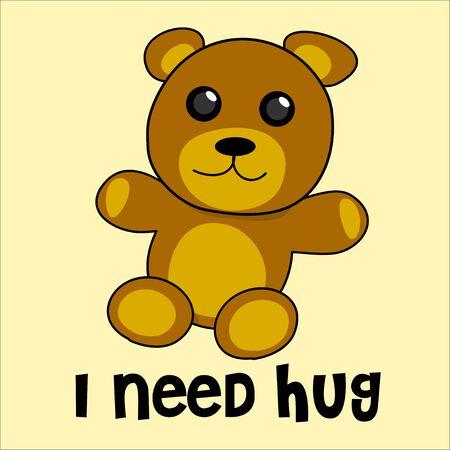 need: cute bear kid doll need hug Illustration