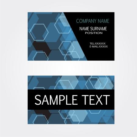 businesscard: Blue Business-Card name card Set Modern Illustration