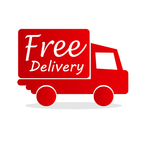 free delivery box with red arrow